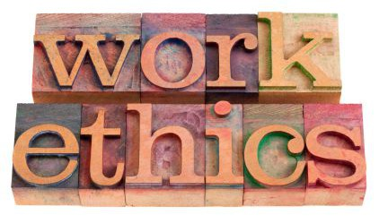 work ethics concept -  words  in vintage wooden letterpress printing blocks, stained by color inks, isolated on white